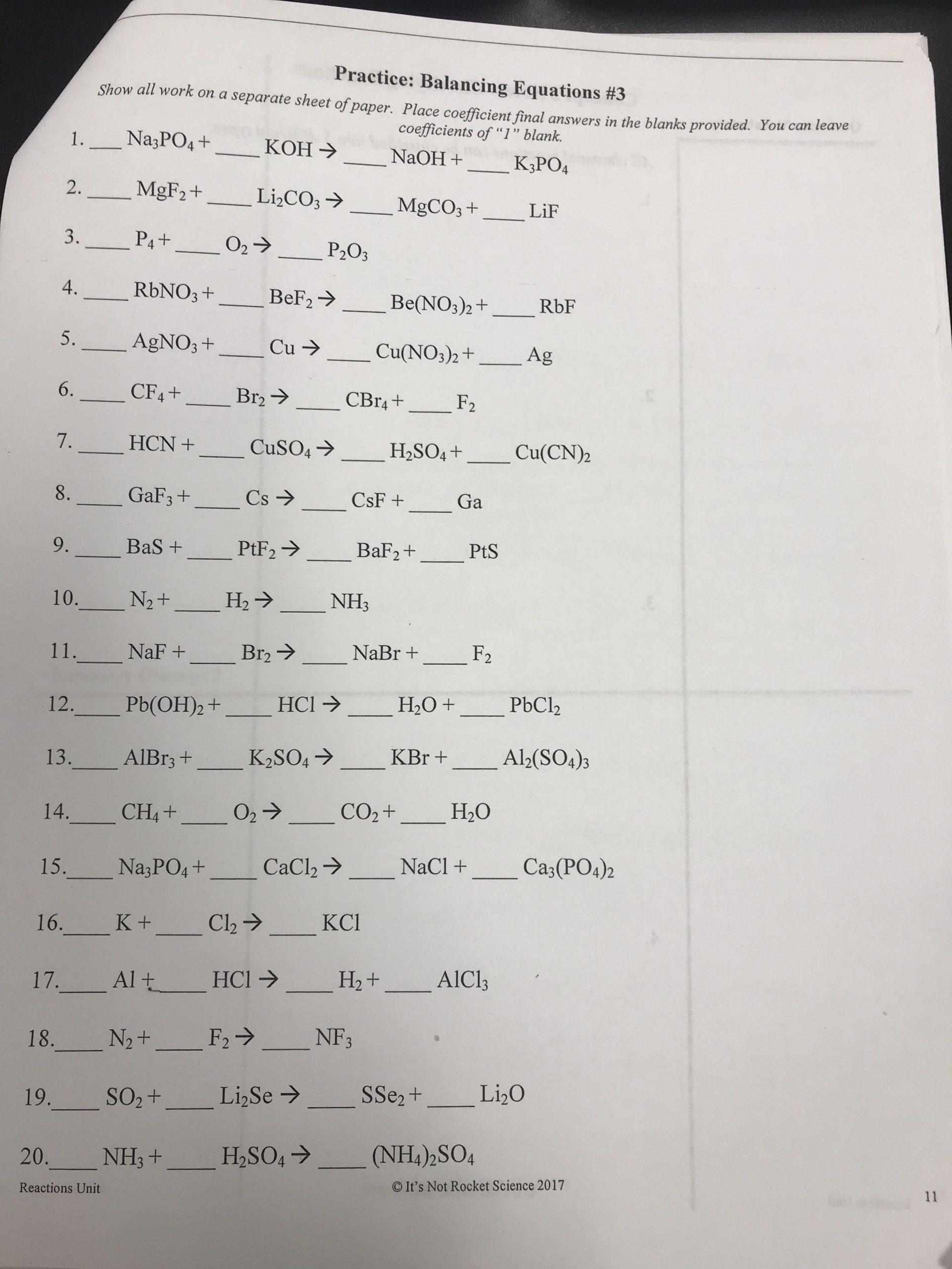 30 Worksheet Balancing Equations Answers