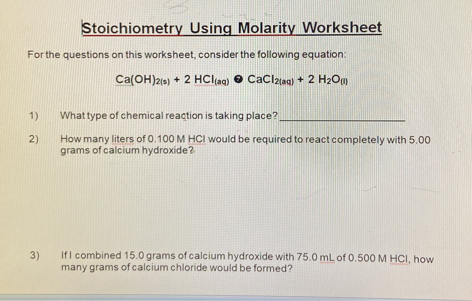 Worksheet For Basic Stoichiometry Answer