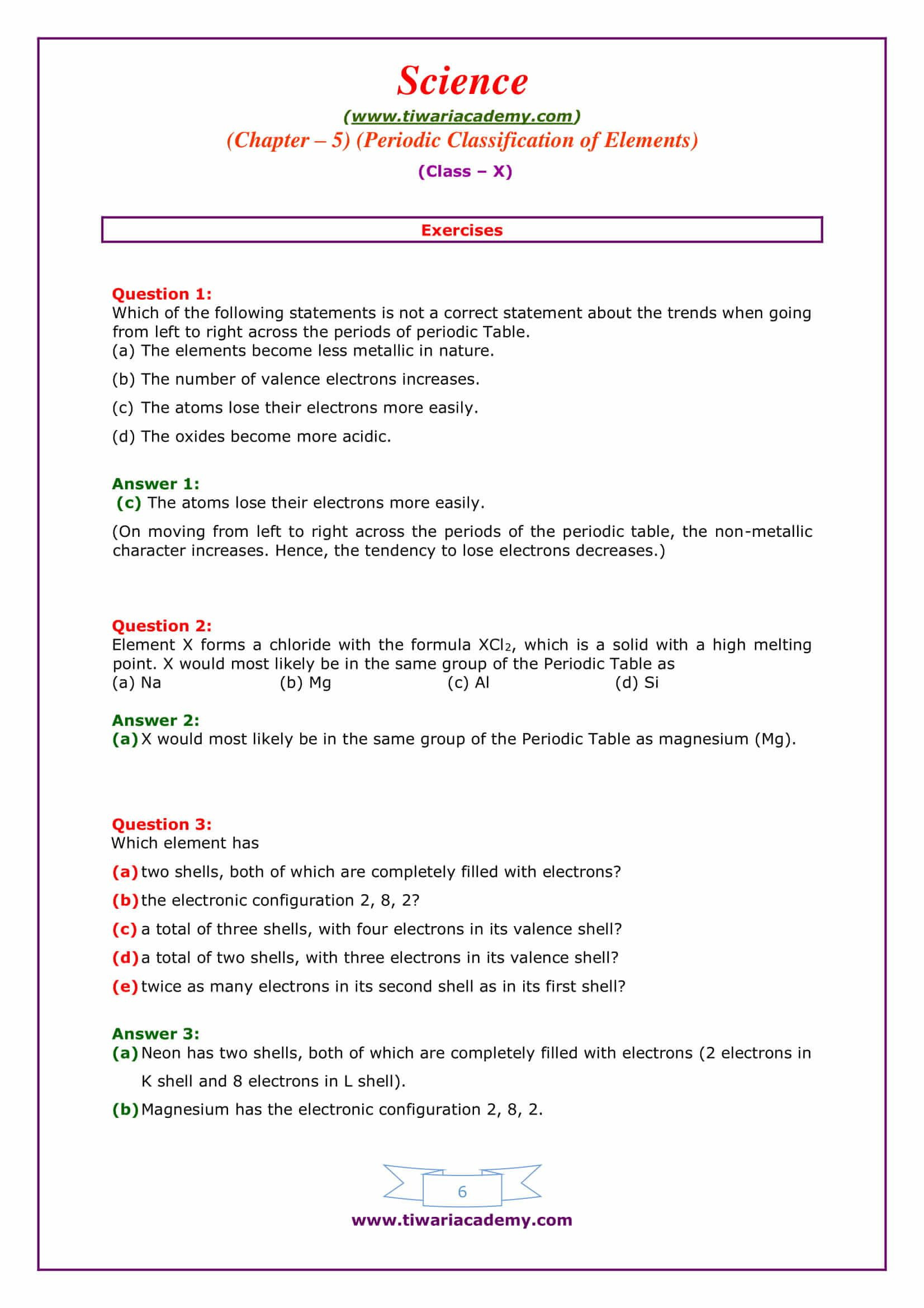 31 Worksheet Periodic Table Trends