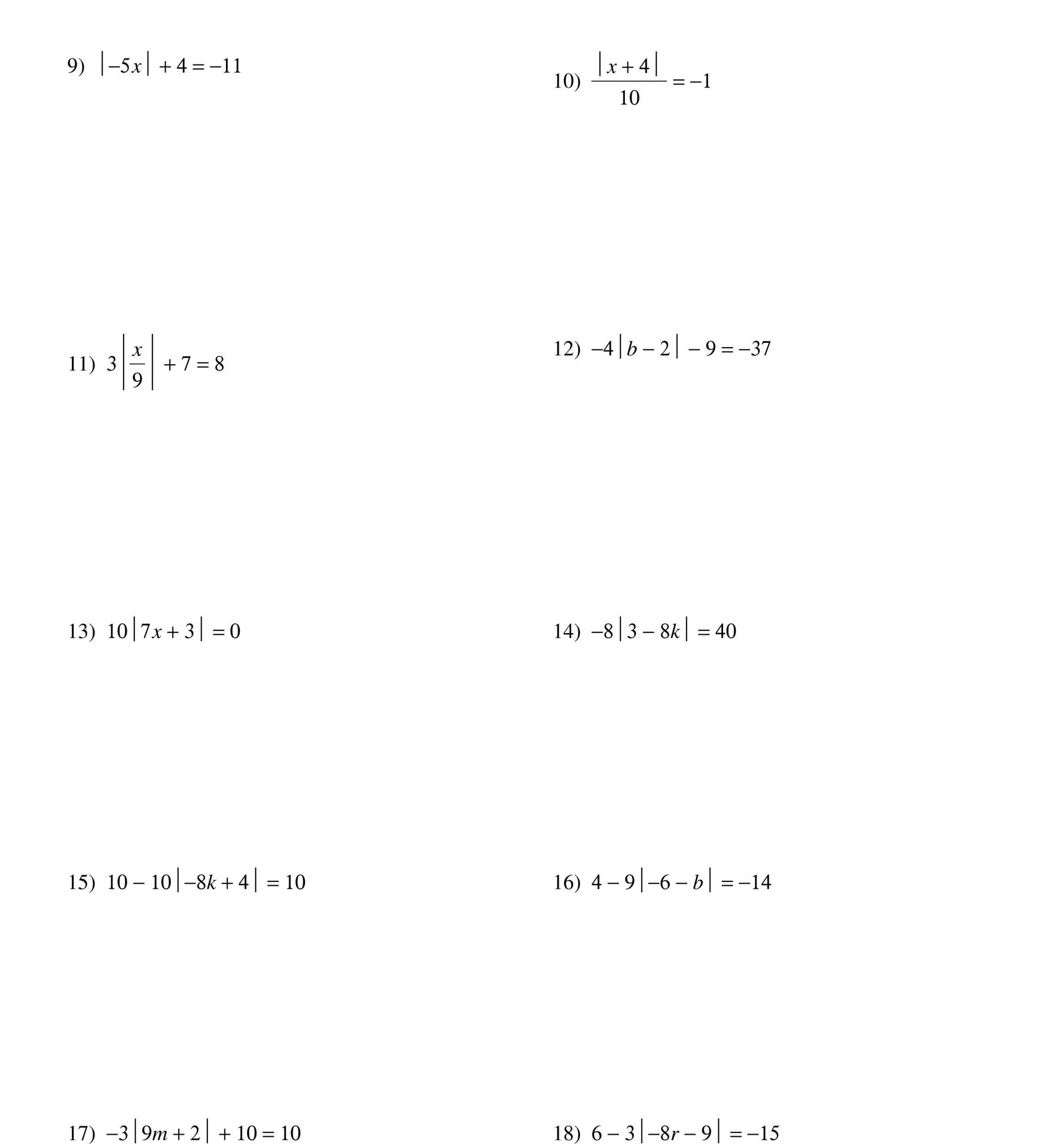 30 Absolute Value Inequalities Worksheet Answers