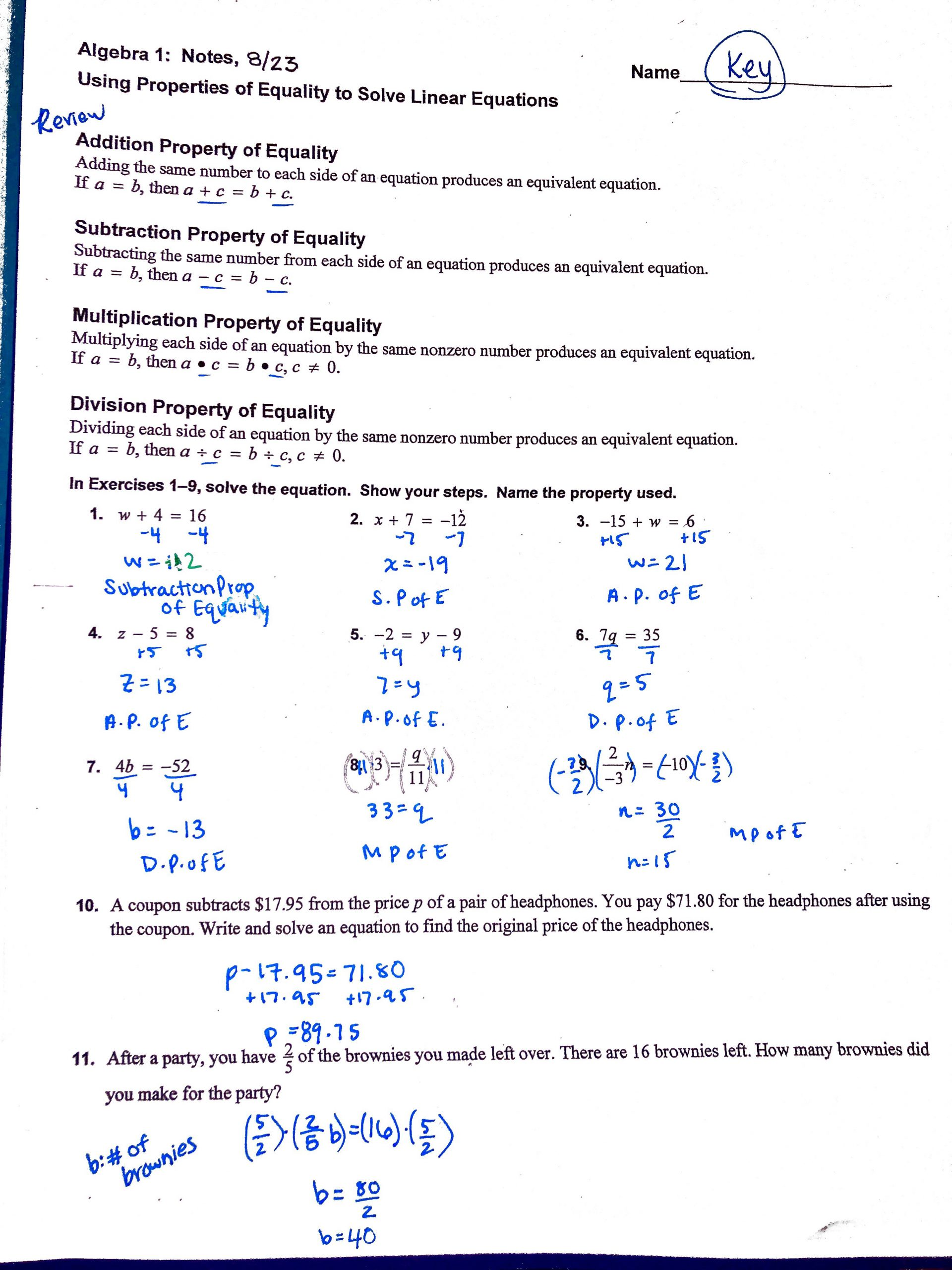 30 Algebra 1 Review Worksheet