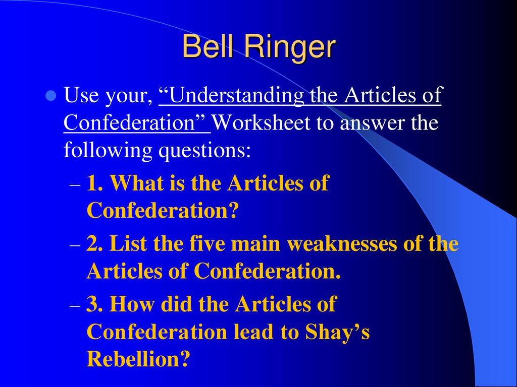 30 Articles Of Confederation Worksheet