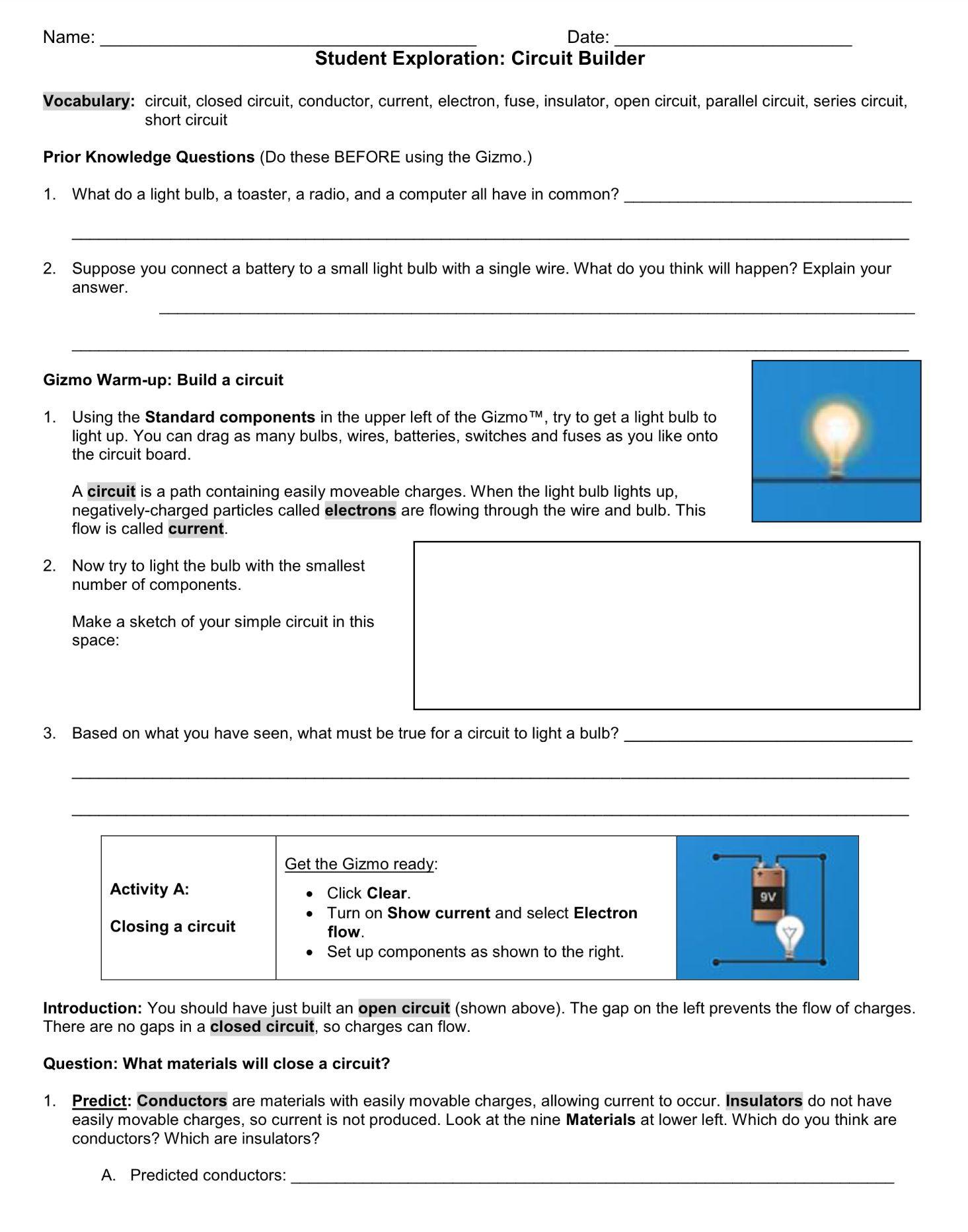 30 Circuits Worksheet Answer Key