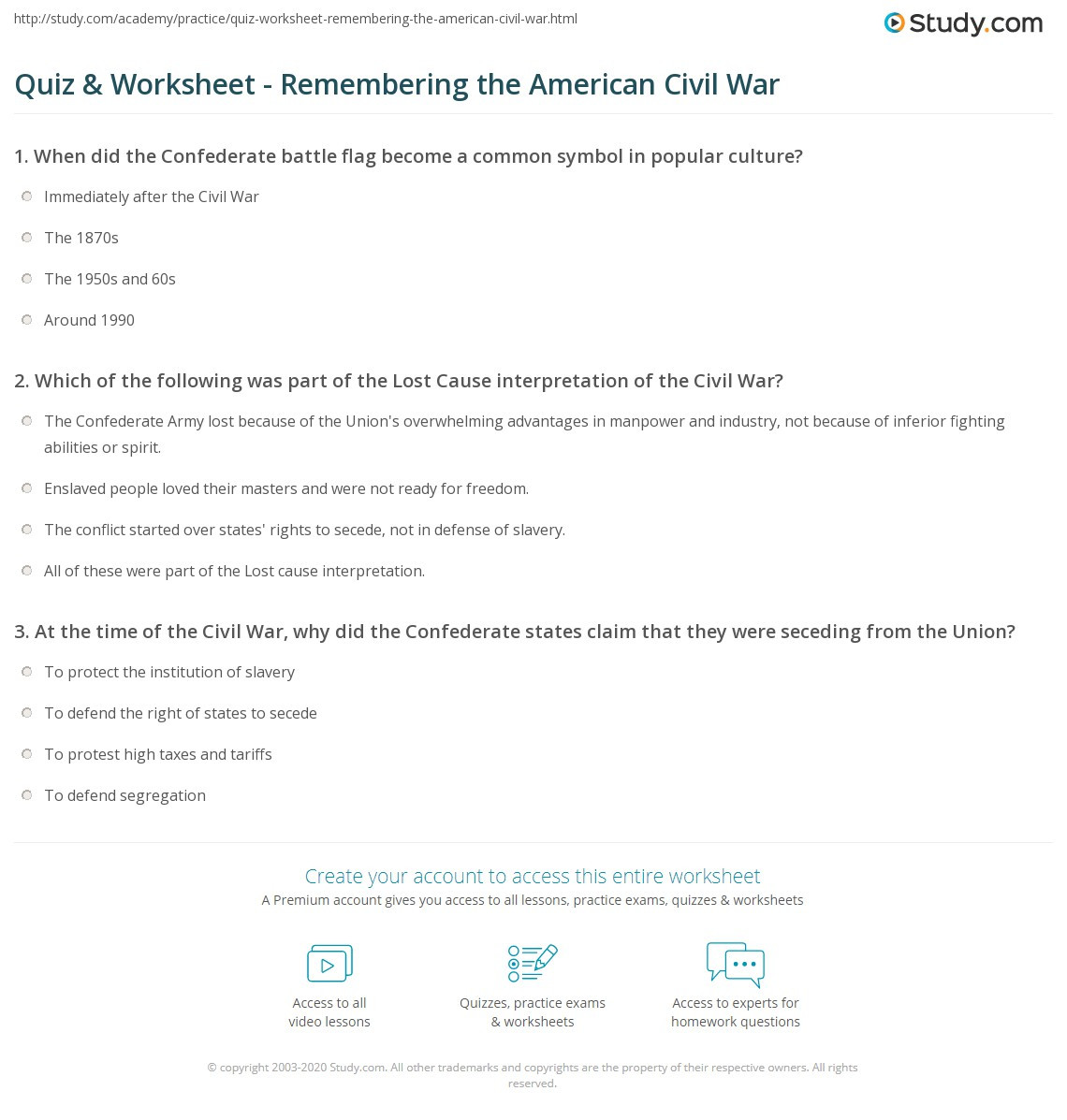 30 Civil War Worksheet