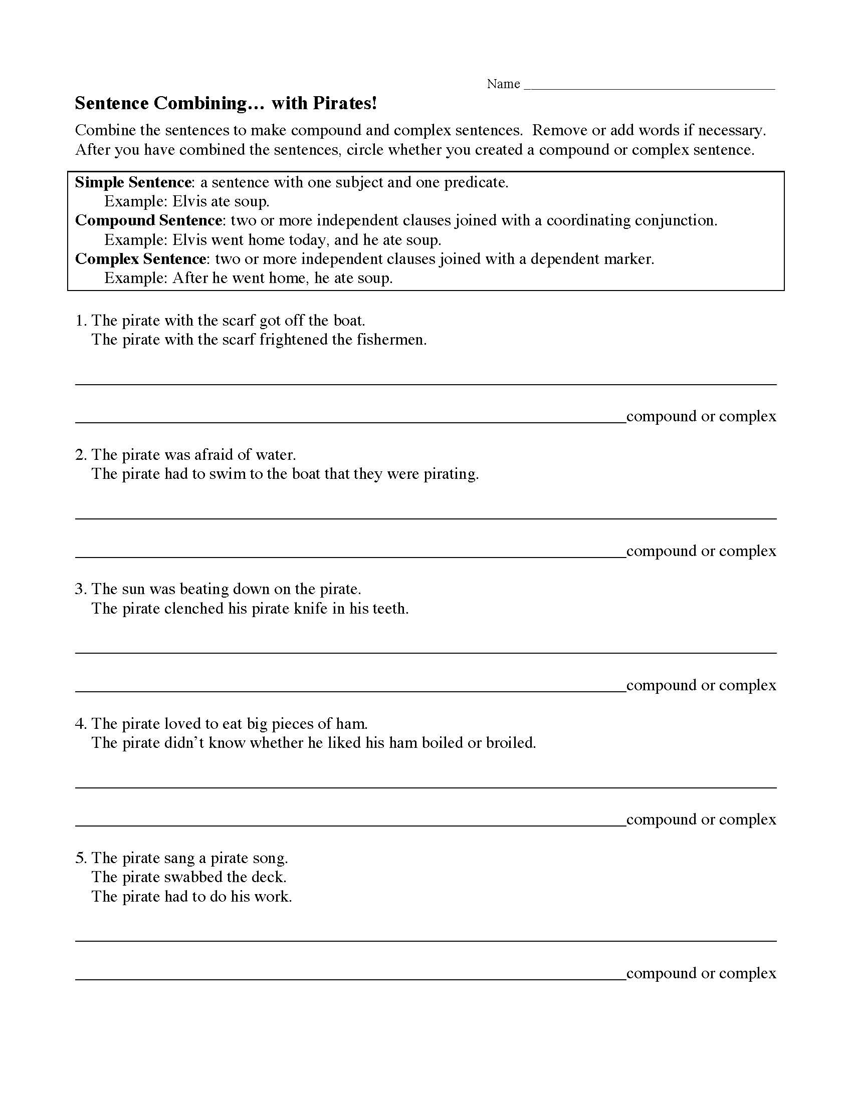 30 Compound And Complex Sentences Worksheet