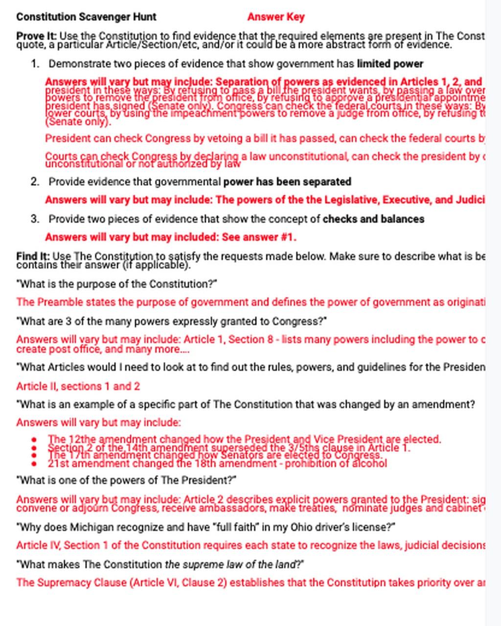 30 Constitution Scavenger Hunt Worksheet
