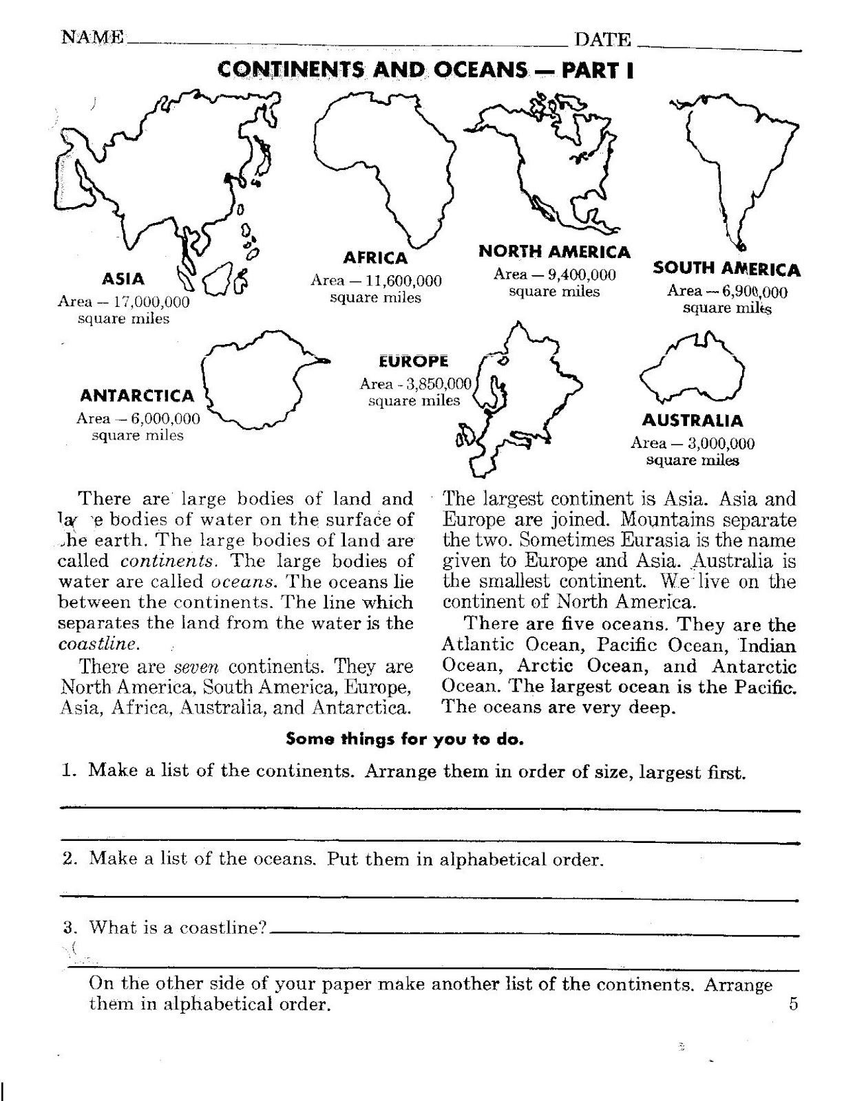 30 Continents And Oceans Worksheet