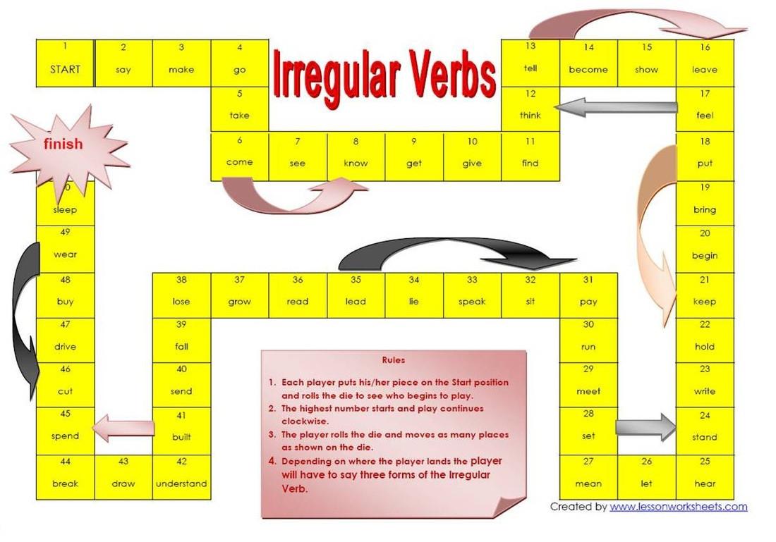 30 Irregular Verbs Worksheet