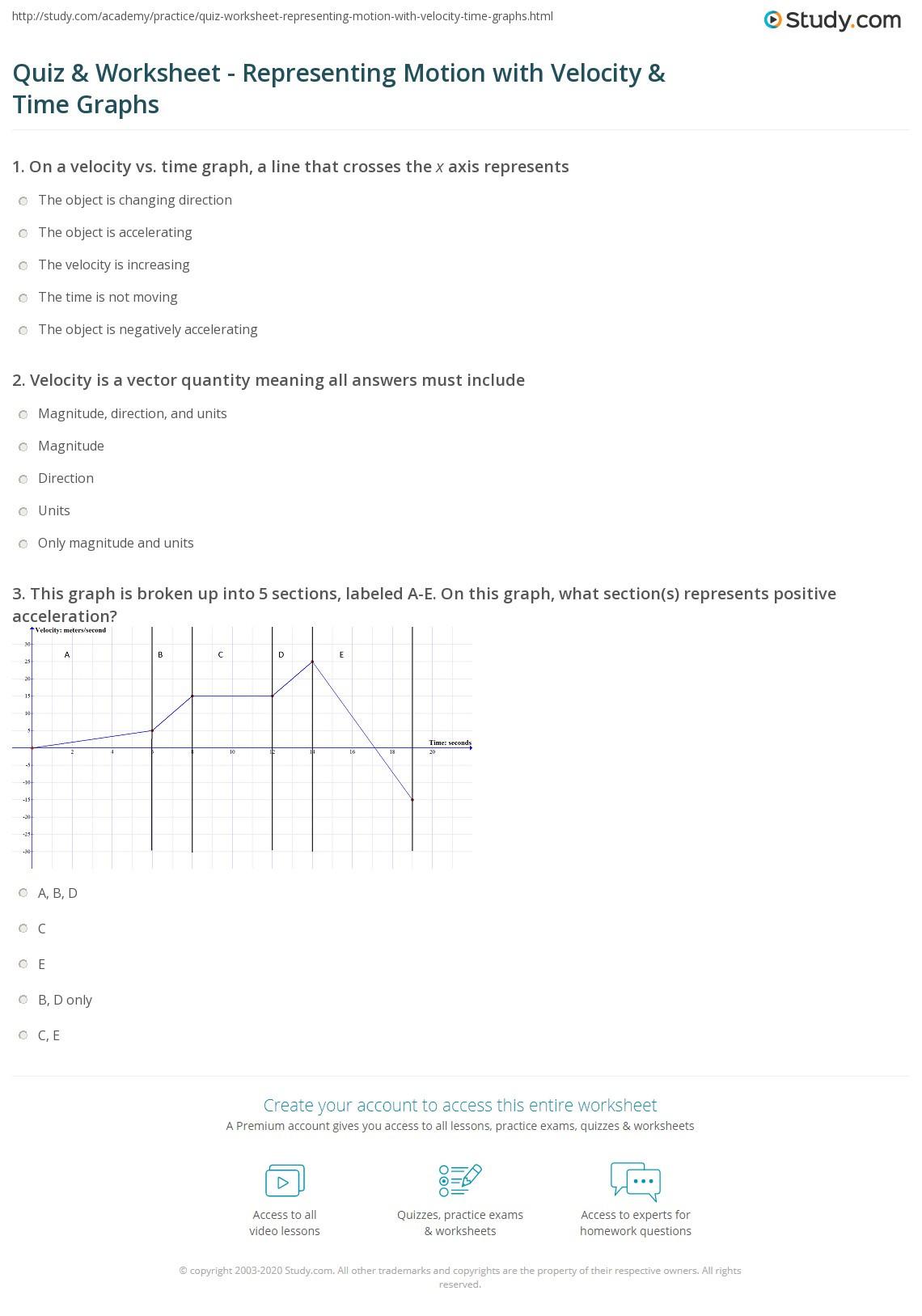 30 Motion Graphs Worksheet Answer Key