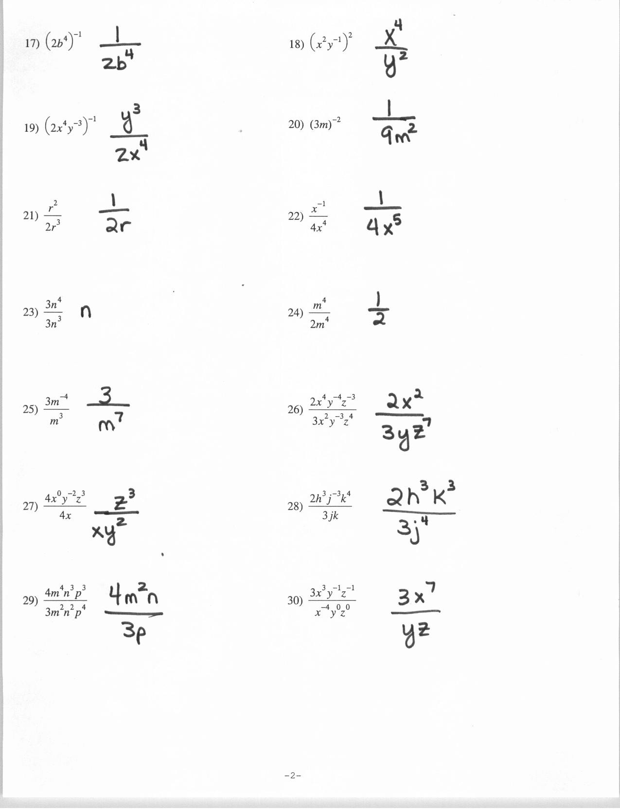 30 Negative Exponents Worksheet