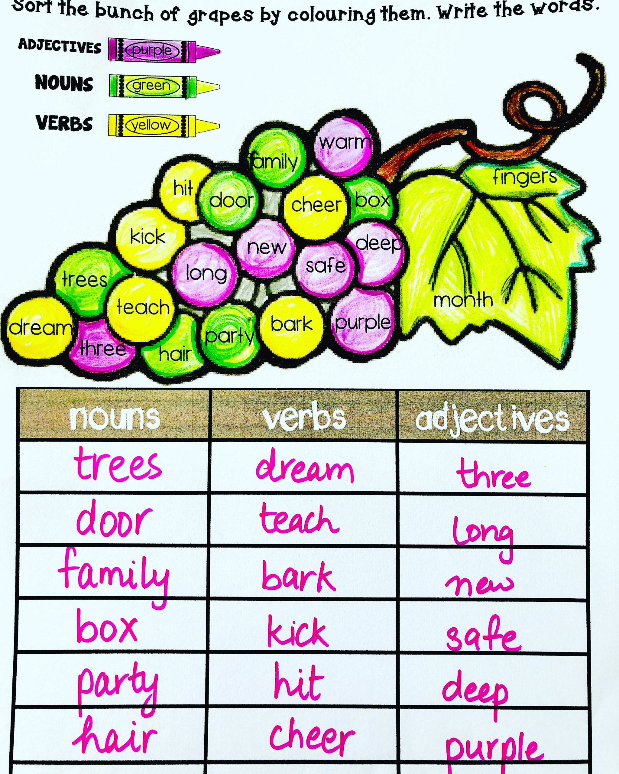 30 Nouns Verbs Adjectives Worksheet