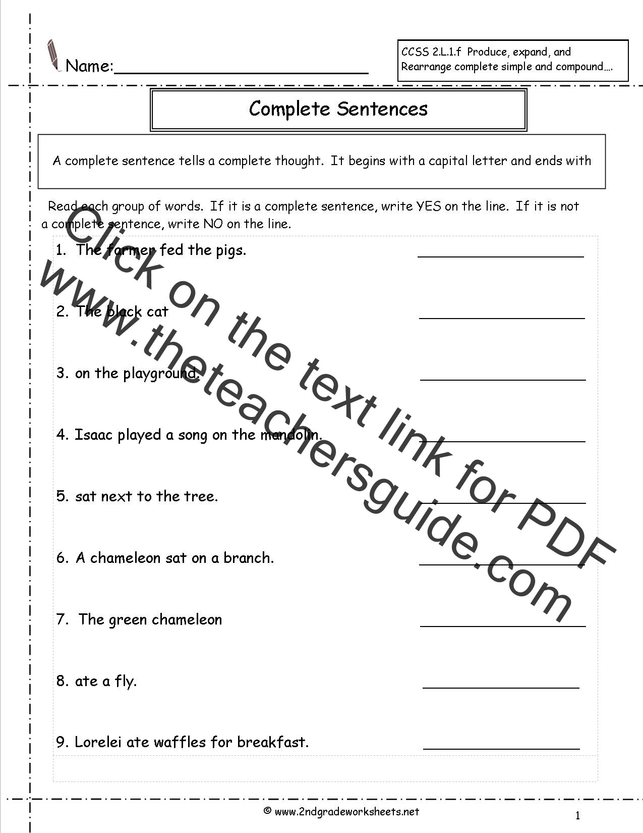 30 Parts Of A Sentence Worksheet