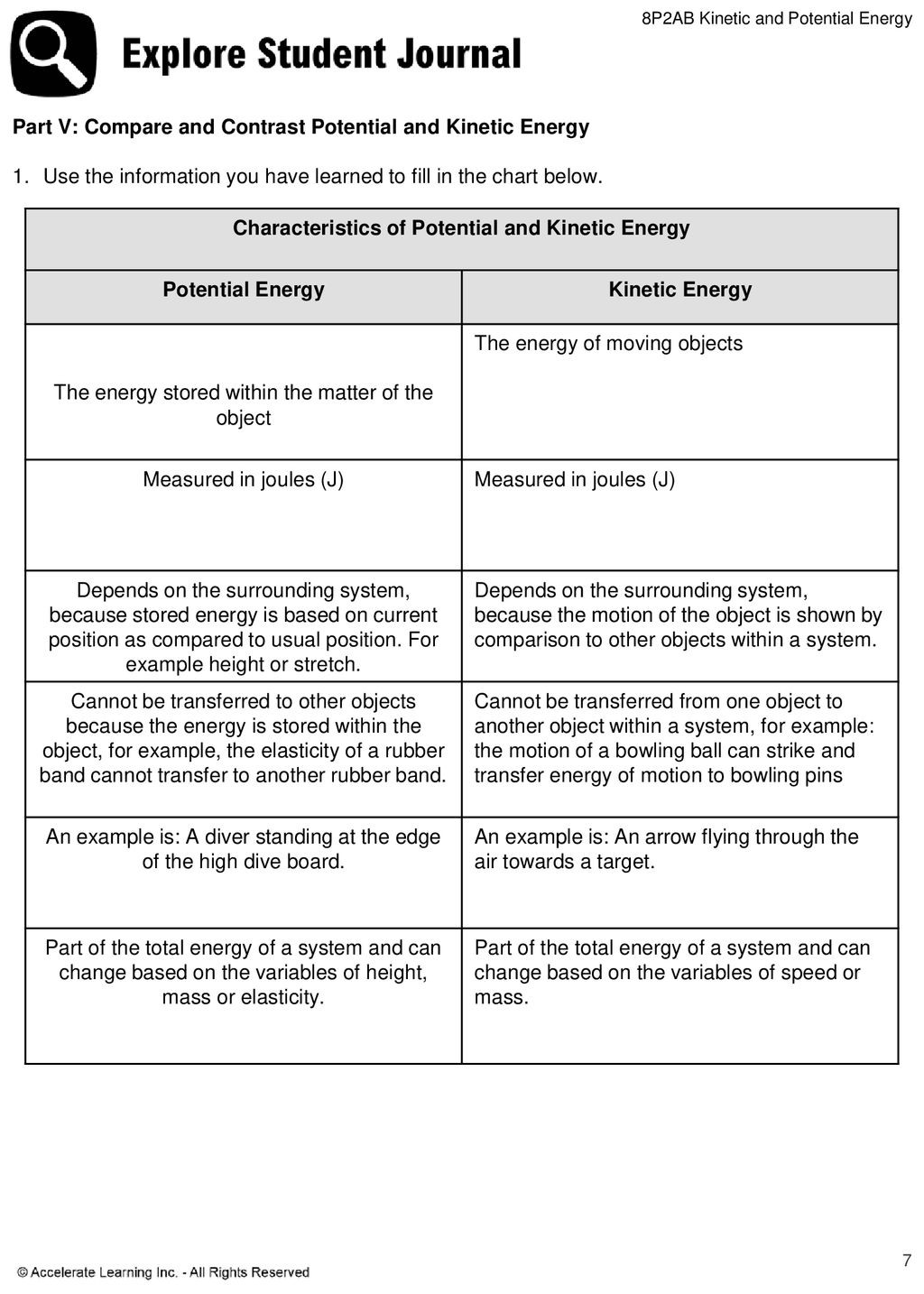 30 Potential Vs Kinetic Energy Worksheet