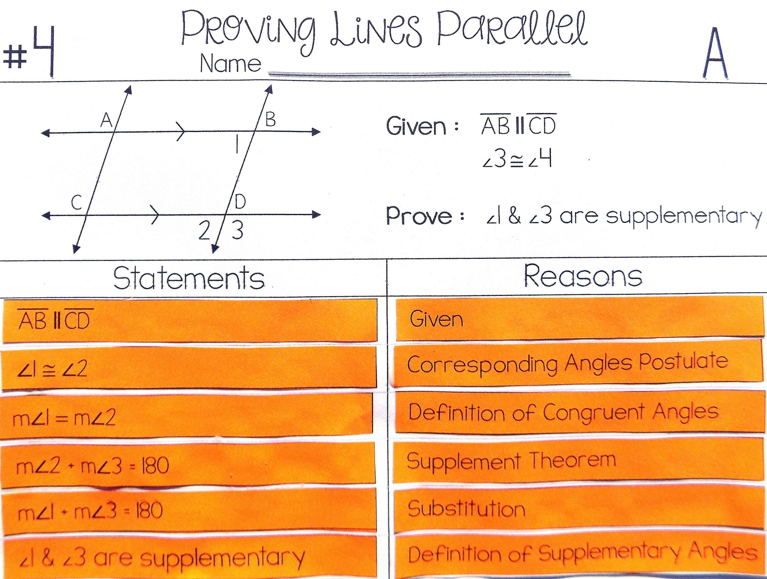 Proving Lines Parallel Worksheet Education Template