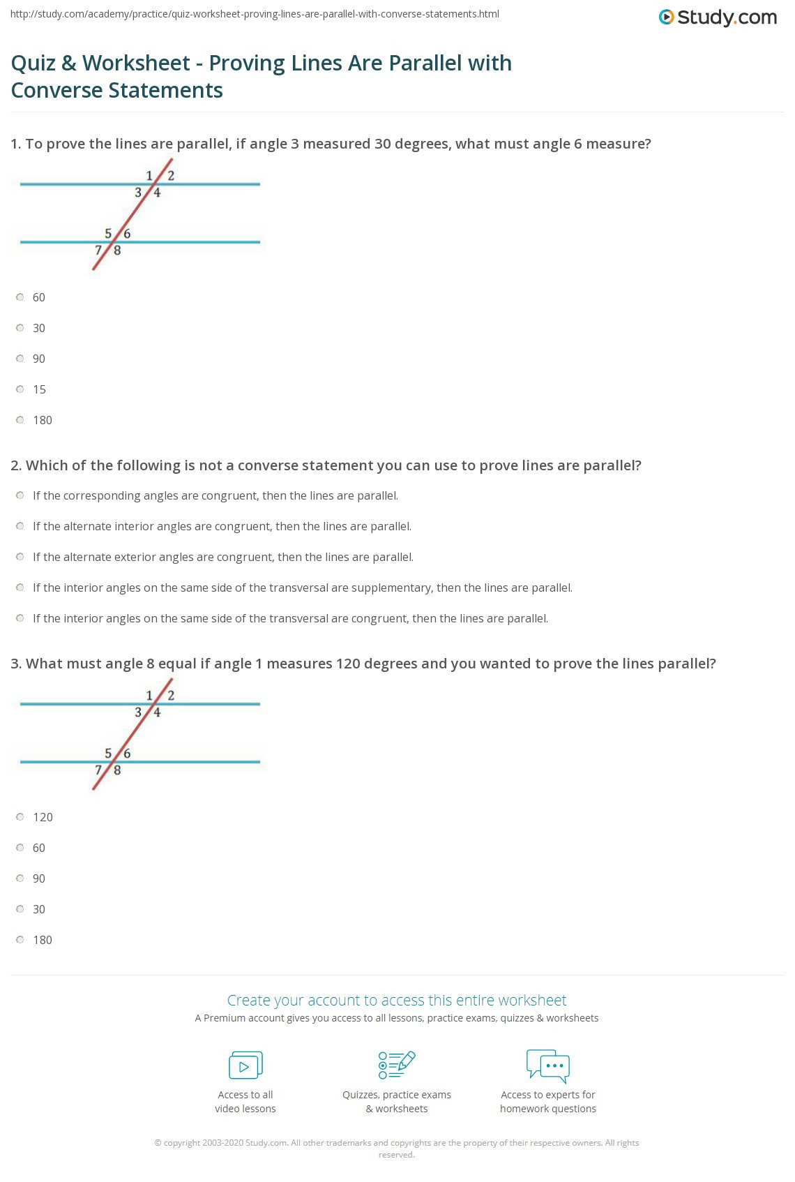 30 Proving Lines Parallel Worksheet