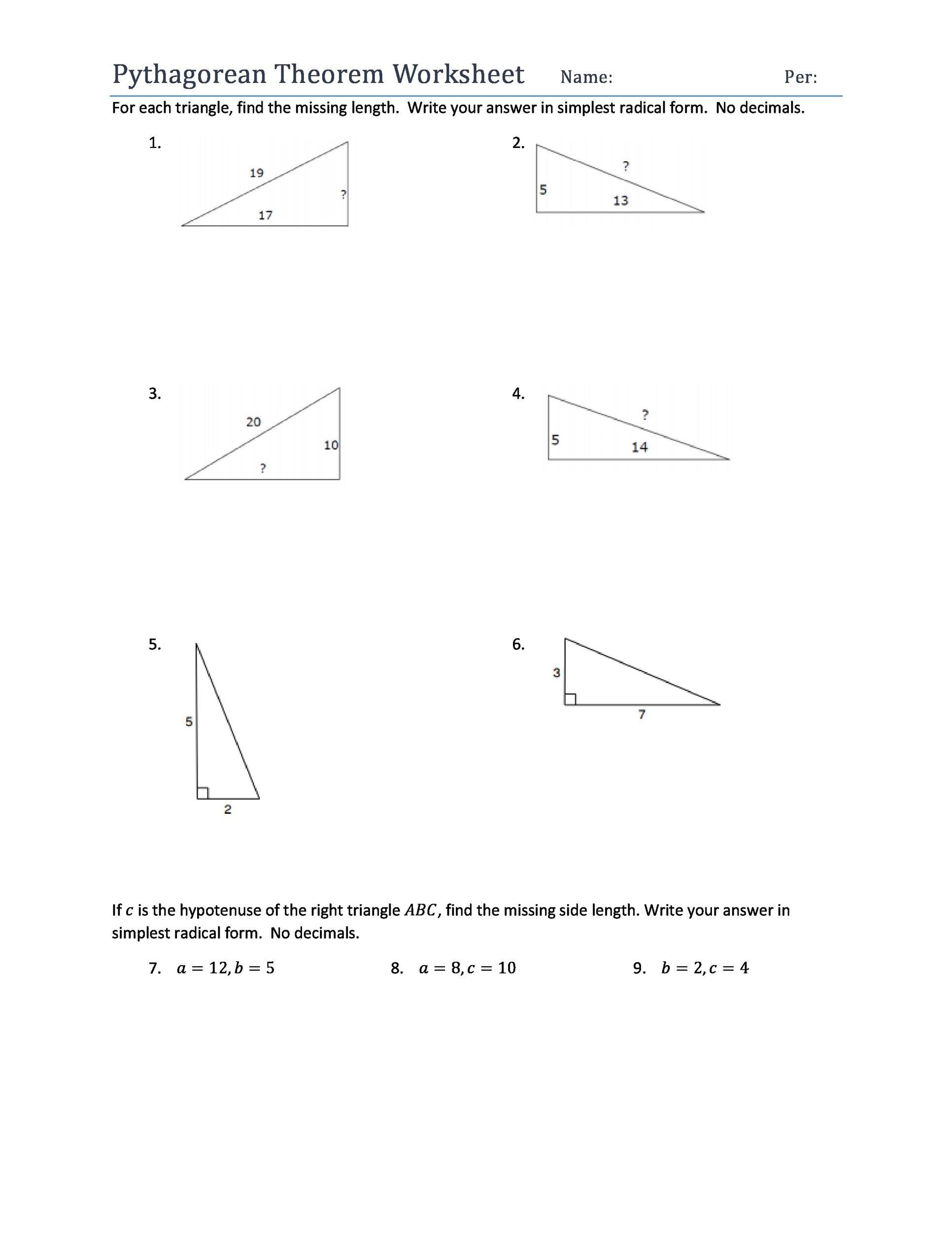 30 Pythagorean Theorem Worksheet Answers