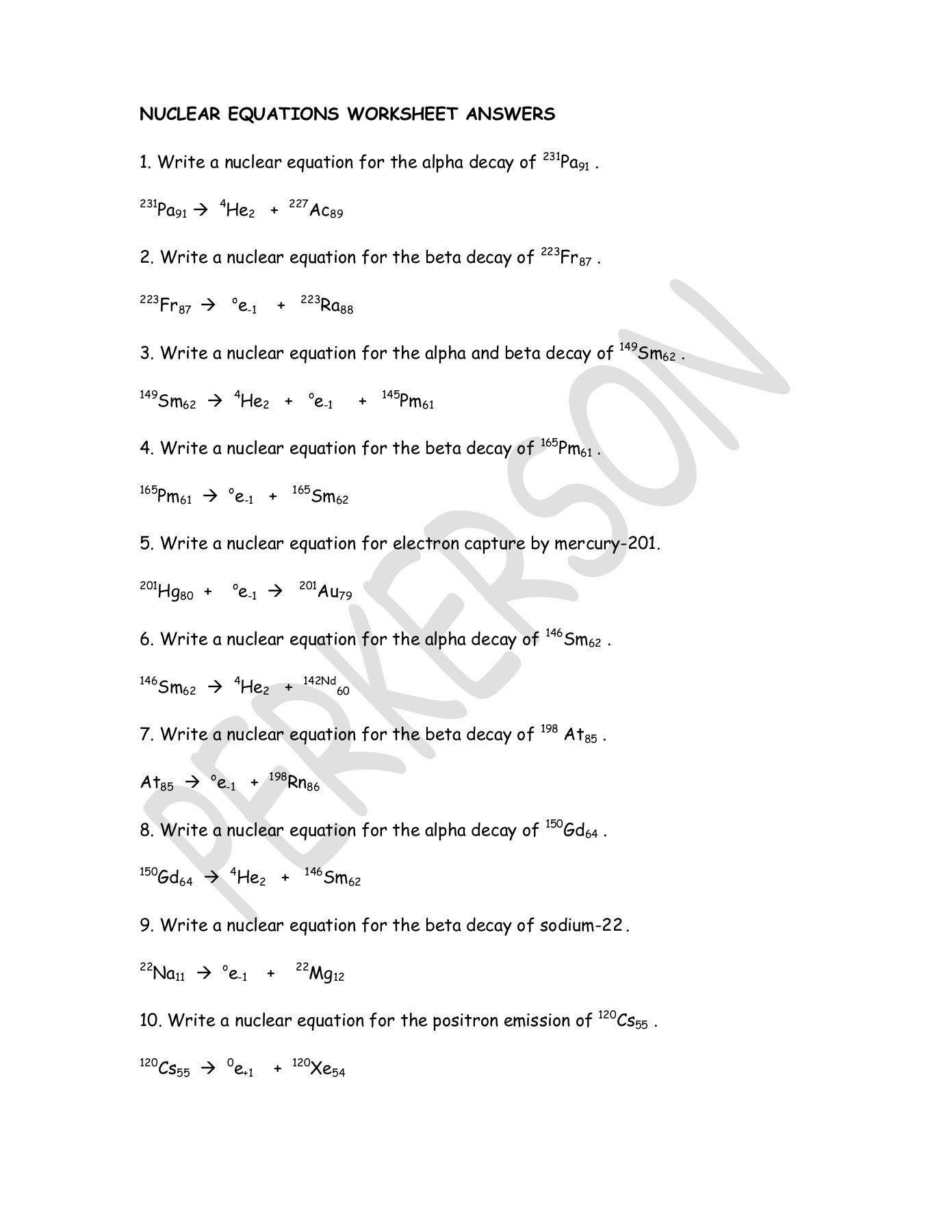 30 Radioactive Decay Worksheet Answers