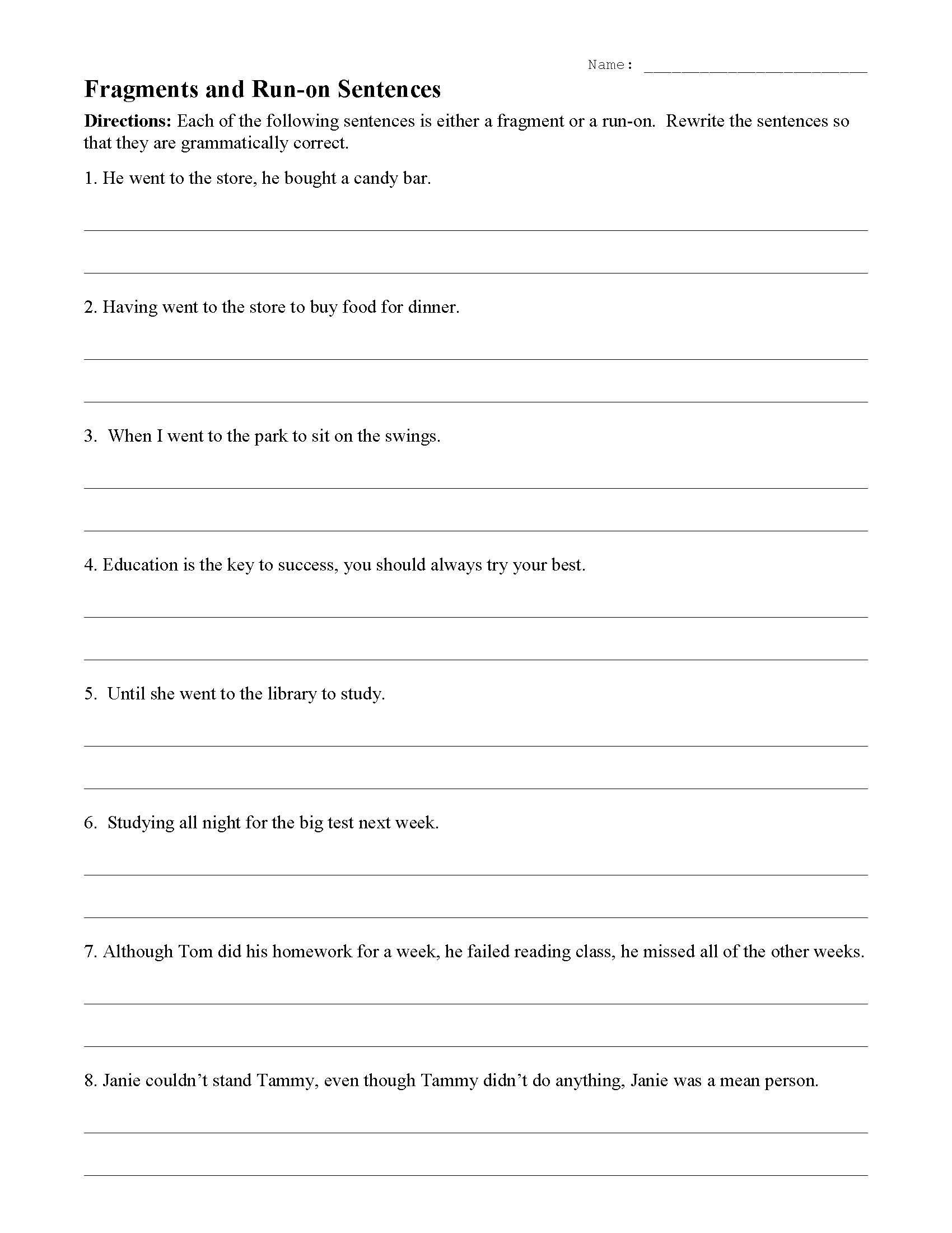 30 Run On Sentence Worksheet