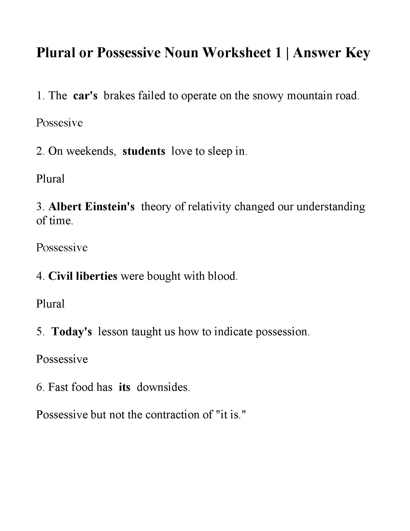Singular Possessive Nouns Worksheet Education Template