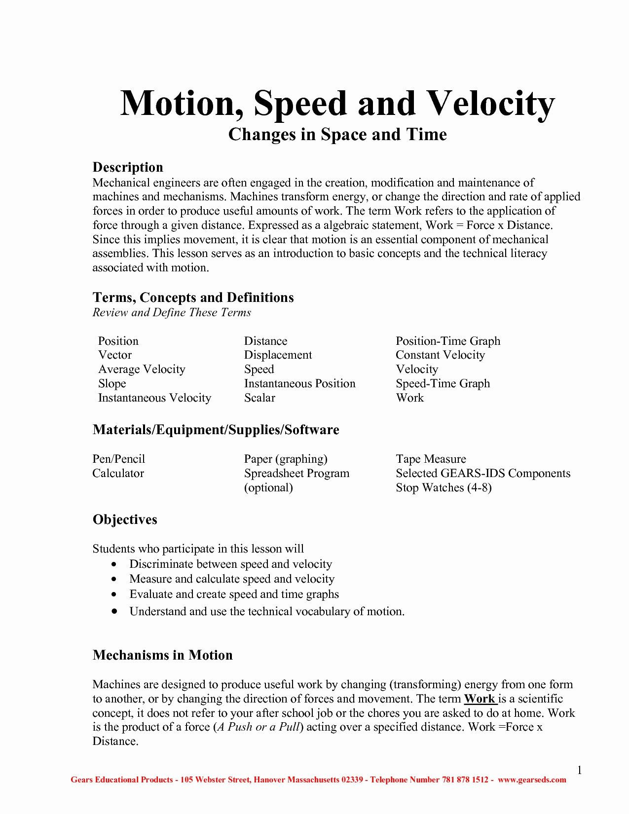 30 Speed And Velocity Worksheet