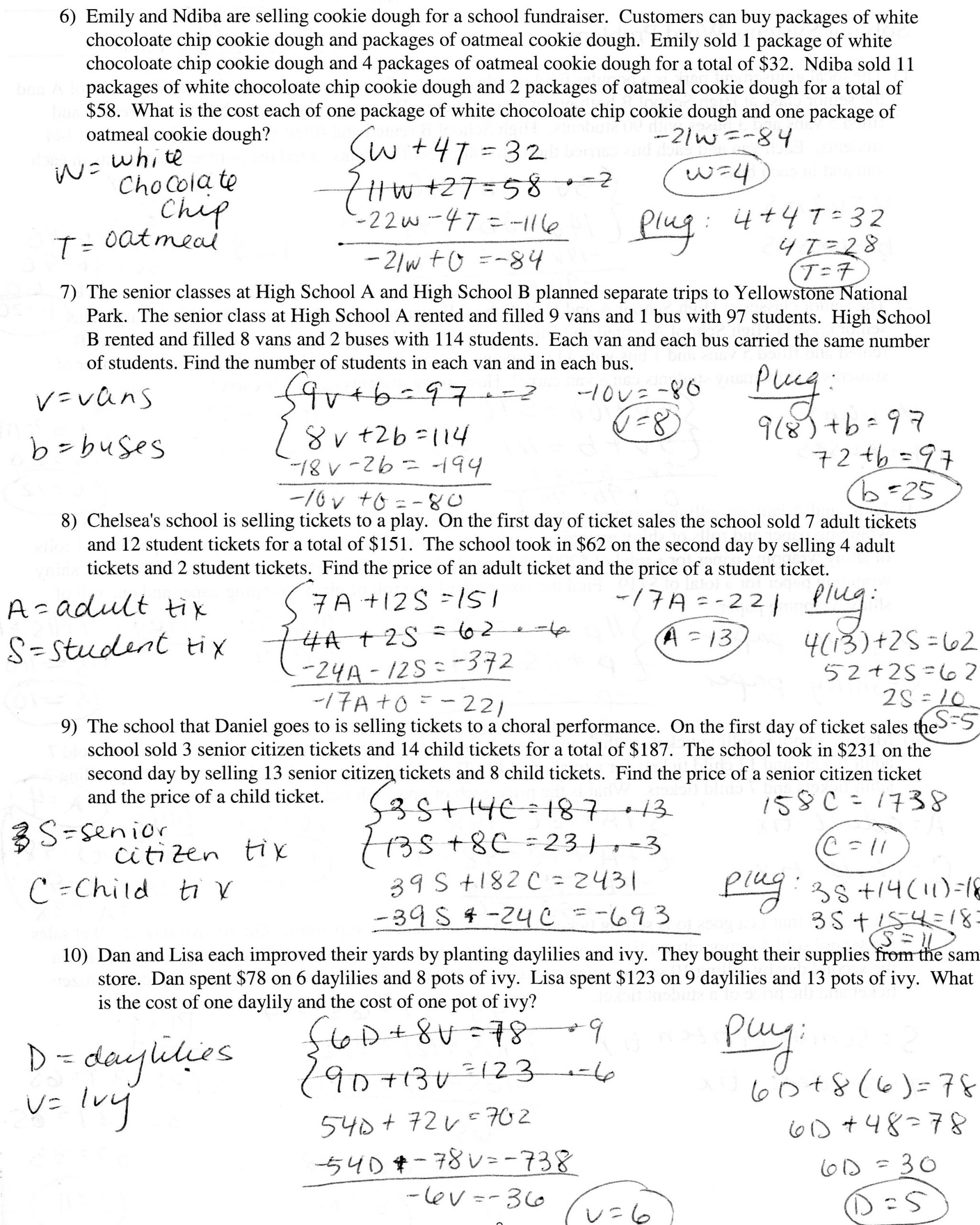 Systems Of Equations Worksheet Education Template