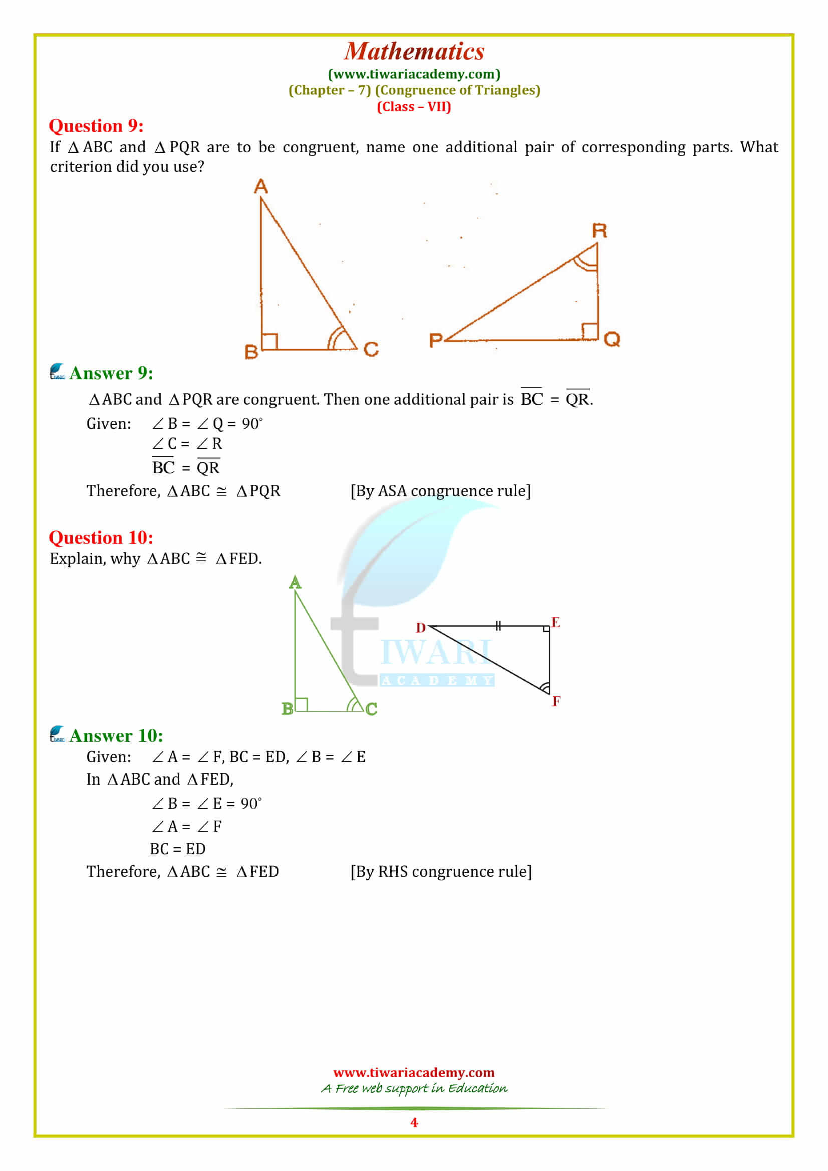 30 Triangle Congruence Worksheet Answer Key