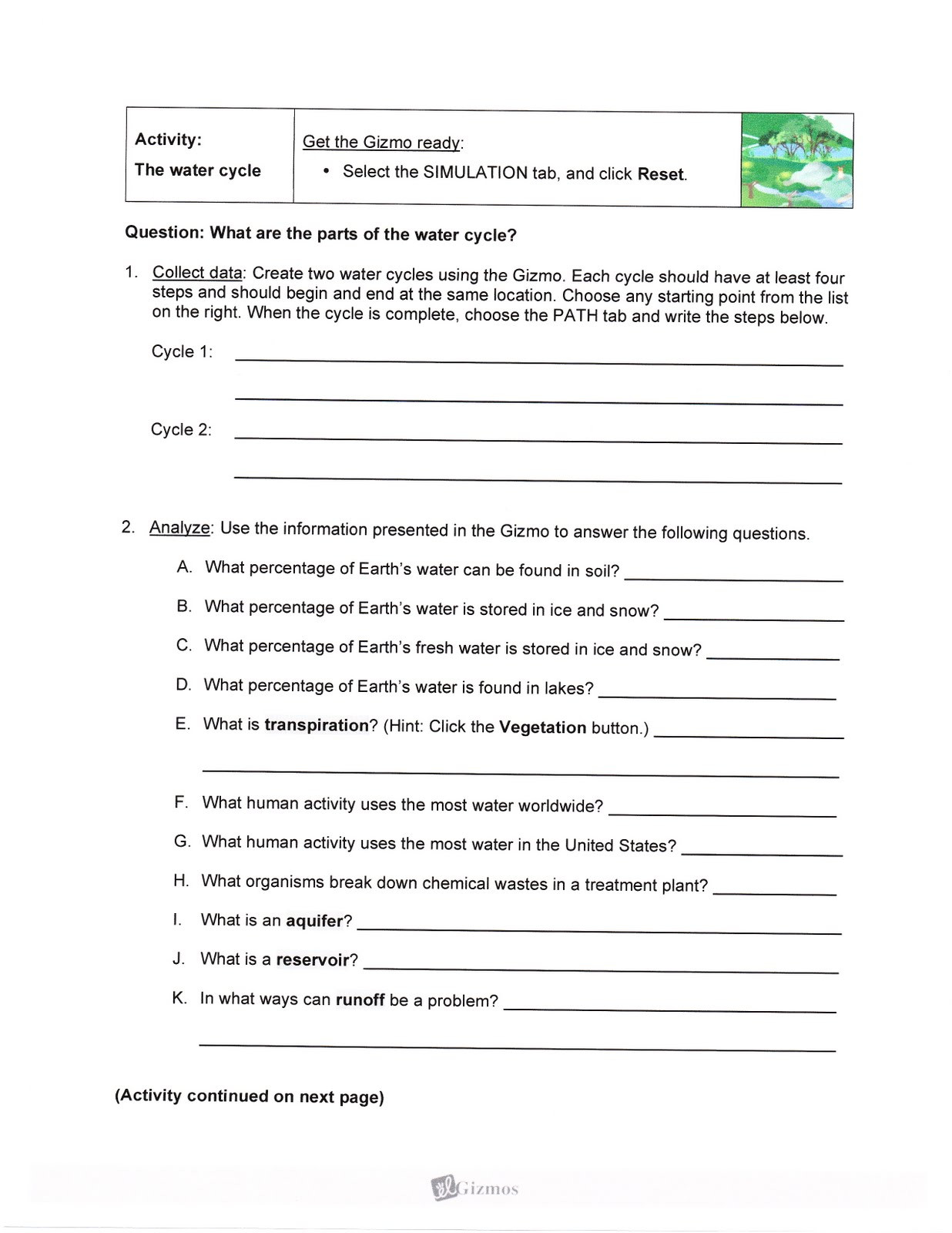 30 Water Cycle Worksheet Answer Key