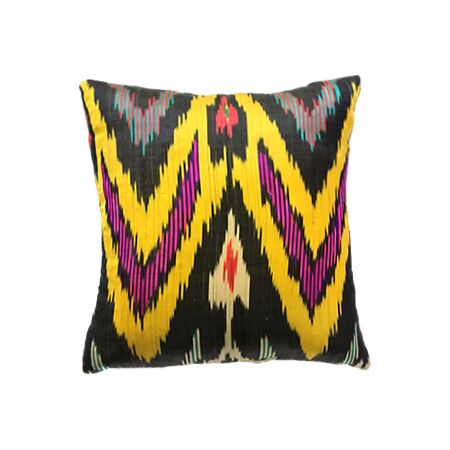 Multicolored Silk Ikat Pillow