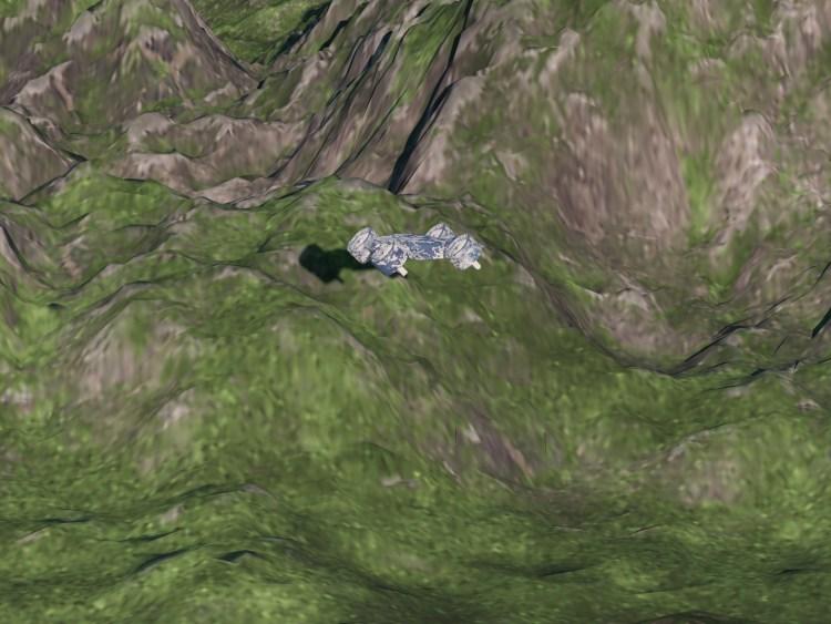 Drone in flight mode over mountain terrain. Credit: Hyalta Aeronautics LLC