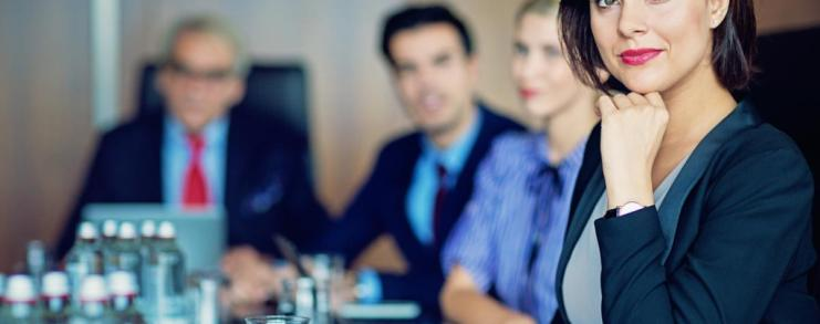 Female attorney in a meeting protected by attorney-client privilege