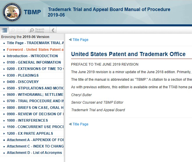 TBMP - Trademark Trial and Appeal Board Manual of Procedure