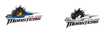Image comparing LAKE ERIE MONSTERS logo with CLEVELAND MONSTERS logo