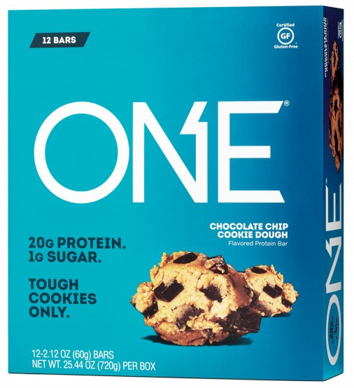 Product packaging from ONE's chocolate chip cookie dough product bearing TOUGH COOKIES ONLY mark
