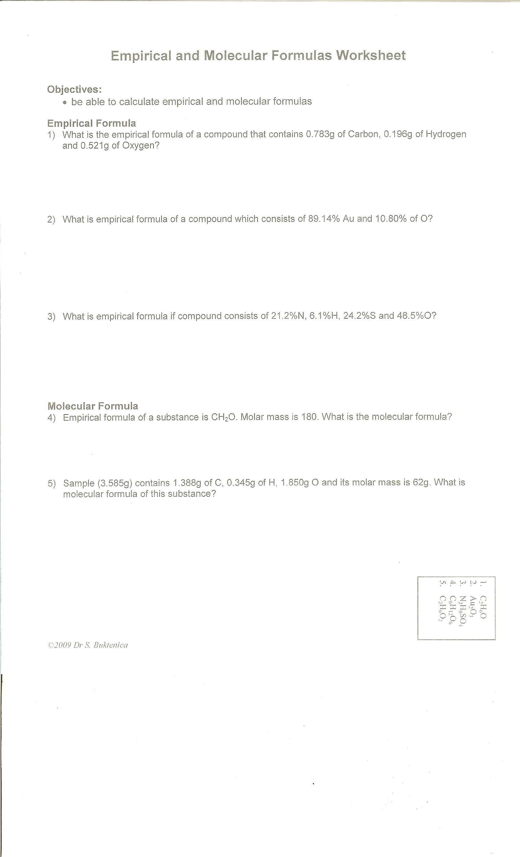 Mole Calculation Worksheet With Work