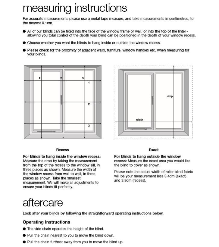 Roller measuring instructions