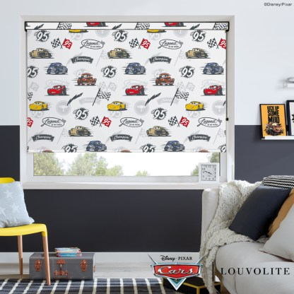 room setting with disney pixar cars roller blind fabric in a kids bedroom