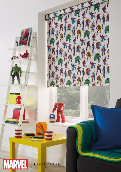 roll setting of marvel avengers roller blind in a kids bedroom or playroom