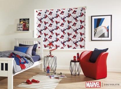 Room setting with spiderman roller blind in kids bedroom
