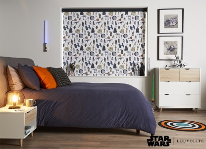 room setting of star wars character roller blind in a bedroom