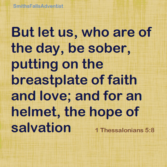 1 Thessalonians 5 verse 8 on background