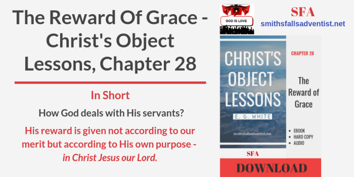 Illustration-Title-The Reward of Grace. Christ's Object Lessons, Chapter 28-text-logo