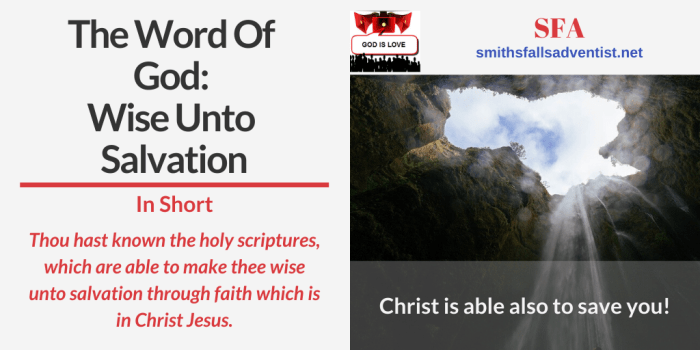 illustration-The Word Of God - Wise Unto Salvation-Bible verse-cave-text-logo