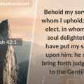 Illustration - Behold Christ's Love in Isaiah 42 verse 1 - text - Bible verse - background - mountain