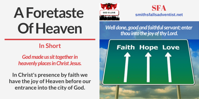 Illustration - sky - sign - text - Title - A Foretaste Of Heaven - Bible verse