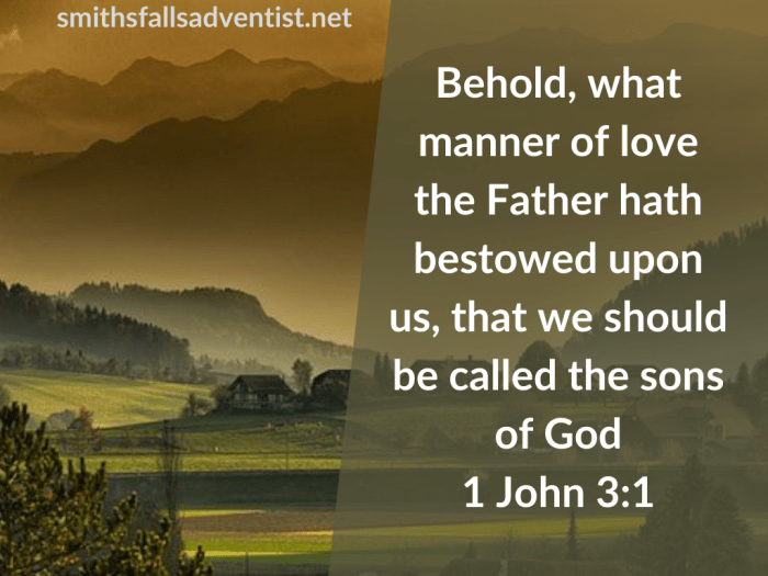 Illustration-landscape-mountain village-title-What manner of love in 1 John 3 verse 1-text-Bible verse