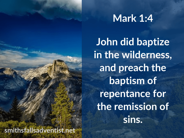 Illustration-background-rocky mountain-title-Baptism of repentance in Mark 1 verse 4-text-Bible verse