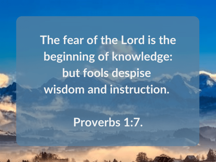 Illustration-background-mountain top under blue sky-title-Fools despise wisdom in Proverbs 1 verse 7-text-Bible verse
