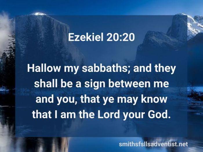 Illustration-background-pure clear mountain lake-title-Hallow my sabbaths in Ezekiel 20 verse 20-text-Bible verse