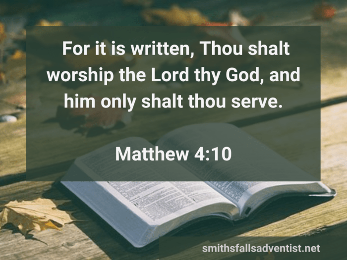 Illustration-background-open book on table with colorful lives-title-Him only serve in Matthew 4 verse 10-text-Bible verse
