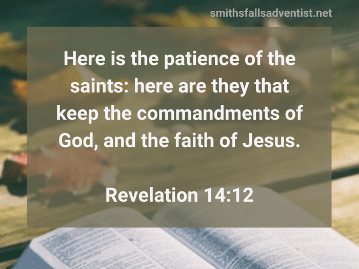 Illustration-background-table with open book-title-The patience of the saints in Revelation 14 verse 12-text-Bible verse